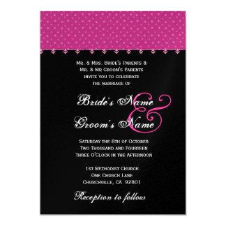 Point de polka noir de roses indien épousant carton d'invitation  12,7 cm x 17,78 cm