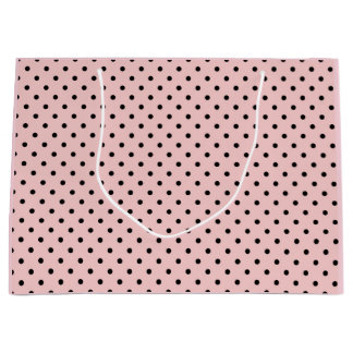 Point de polka noir rose grand sac cadeau