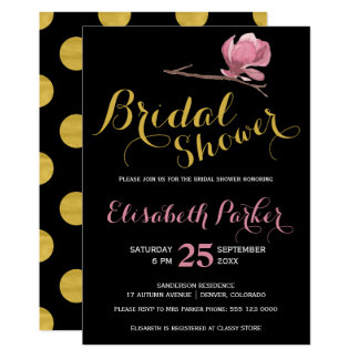 Point de polka nuptiale fascinant de noir d'or de carton d'invitation  12,7 cm x 17,78 cm