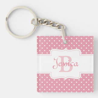 Point de polka rose personnalisé porte-clé carré en acrylique double face