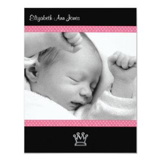 Point de polka rose sur le bébé noir Announements Carton D'invitation 10,79 Cm X 13,97 Cm