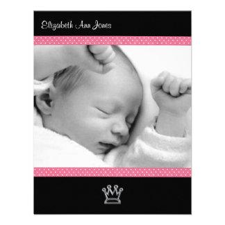 Point de polka rose sur le bébé noir Announements Bristols