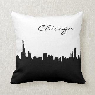 Point de repère noir et blanc de Chicago Coussin