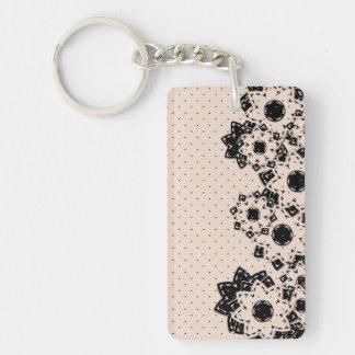 Point et fleurs de polka de porte - clé porte-clé rectangulaire en acrylique double face