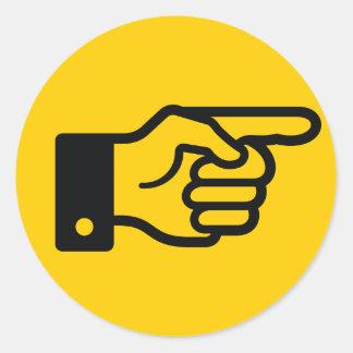 Pointage de l'autocollant (jaune) de doigt sticker rond