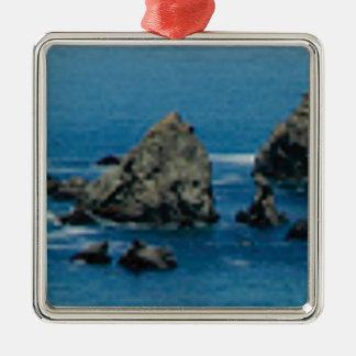 pointes à la plage ornement carré argenté