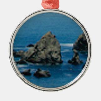 pointes à la plage ornement rond argenté