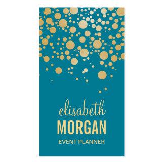 Points chics de confettis d'or - rétro bleu carte de visite standard
