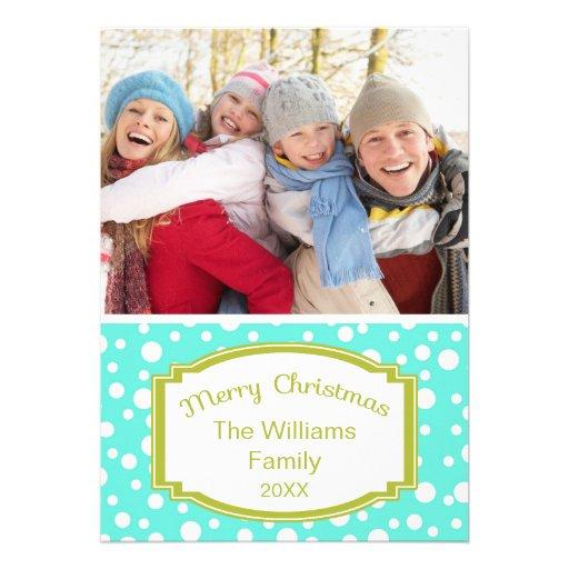 Points de bleu de carte de Noël de photo Faire-part Personnalisés