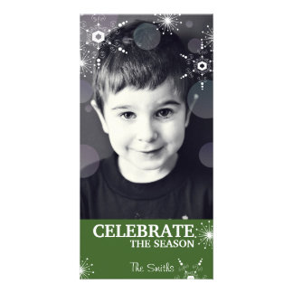 Points de flocons de neige de vert de carte photo photocartes personnalisées