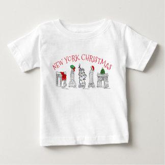 Points de repère Brooklyn de vacances de Noël NYC T-shirt Pour Bébé