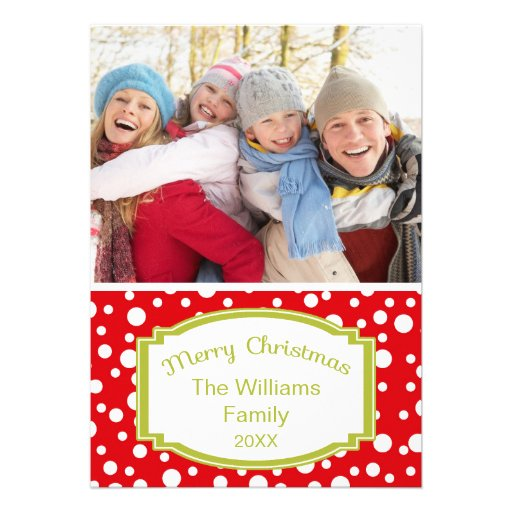 Points de rouge de carte de Noël de photo Invitation