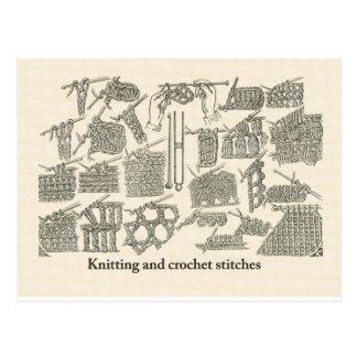 Points de tricot et de crochet cartes postales