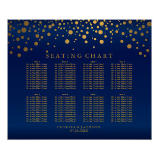 Points d'or de confettis et diagramme d'allocation poster
