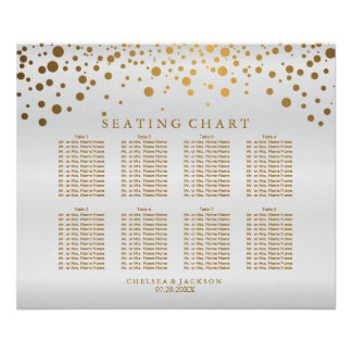 Points d'or de confettis et satin blanc - poster
