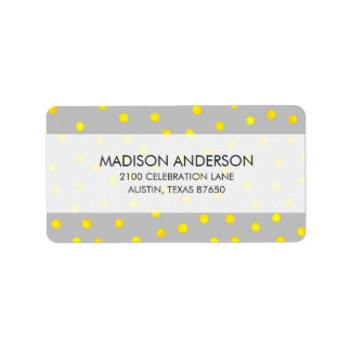 Points jaunes et gris de confettis étiquette d'adresse