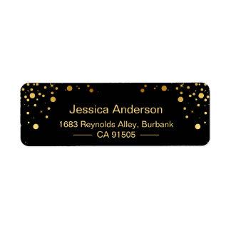 Points noirs modernes de confettis d'or étiquette d'adresse retour