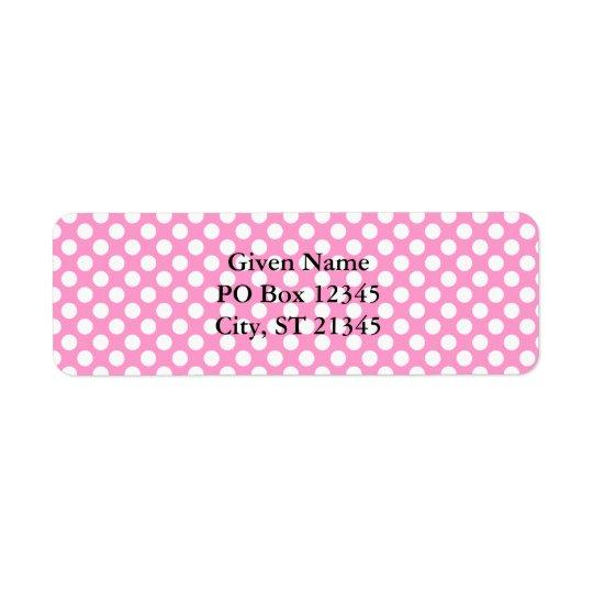 Points roses et blancs étiquette d'adresse retour