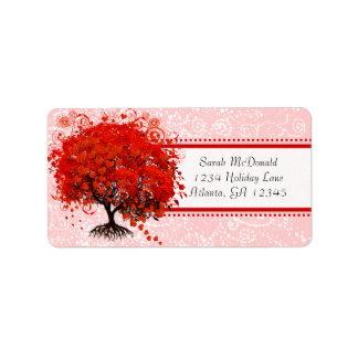 Points roses rouges de remous d'arbre lunatique étiquette d'adresse