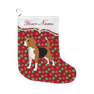 Points rouges de Noël de chien de beagle Grande Chaussette De Noël