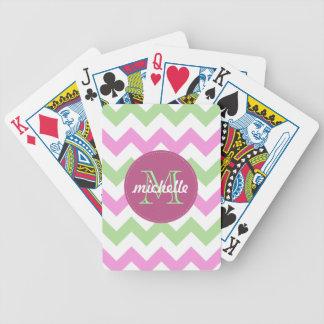 Points verts rose-clair de cercle de monogramme de jeu de cartes