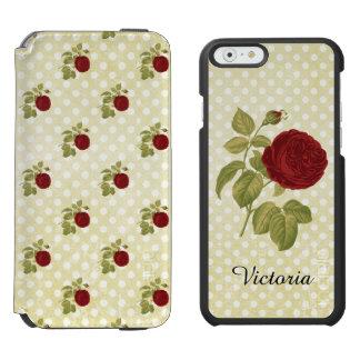 Pois antique de parchemin de rose rouge coque-portefeuille iPhone 6 incipio watson™