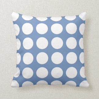 Pois blanc bleu/gris coussins carrés