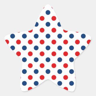 Pois blanc et bleu rouge sticker étoile