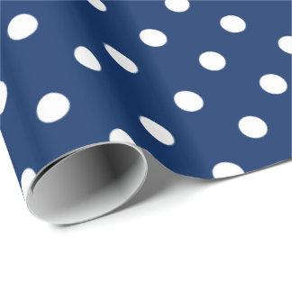 Pois blanc sur le bleu marine papier cadeau