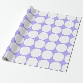 Pois blanc sur le lilas bleu papier cadeau