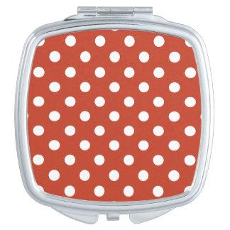 Pois - blanc sur le rouge en pastel foncé miroirs compacts