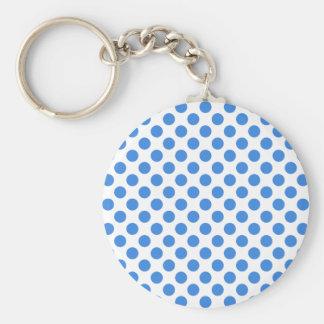 Pois bleu avec l'arrière - plan personnalisable porte-clé rond