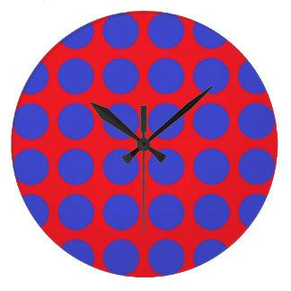 Pois bleu rouge grande horloge ronde
