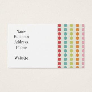 Pois coloré d'amusement aligné dans les rangées cartes de visite