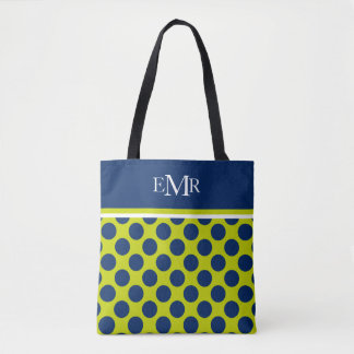 Pois de bleu marine sur le monogramme de vert de sac