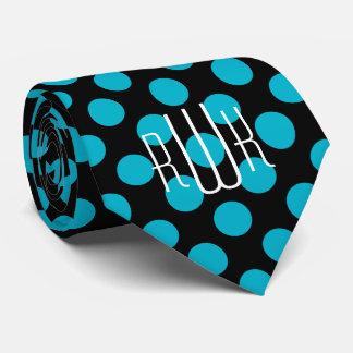 Pois de noir d'Aqua d'initiales Cravate