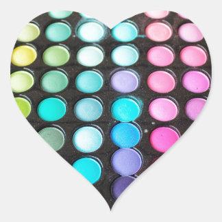 Pois de palette de maquillage d'arc-en-ciel de sticker cœur