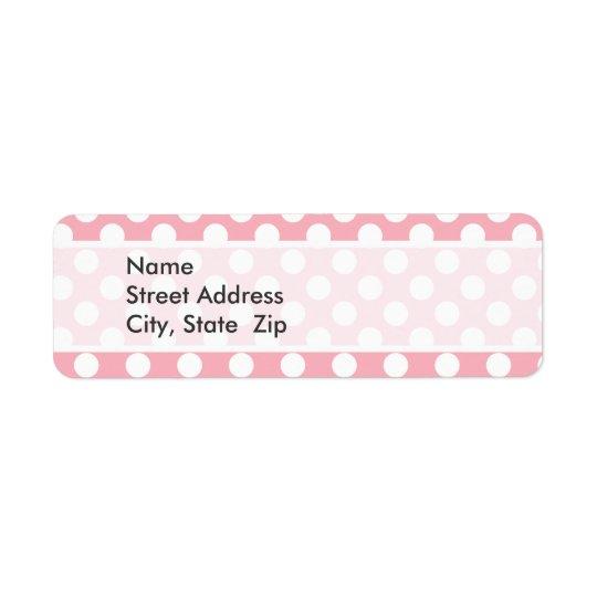 Pois de rose de bubble-gum étiquette d'adresse retour