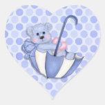 Pois de rose d'ours de parapluie de thème de bébé autocollant