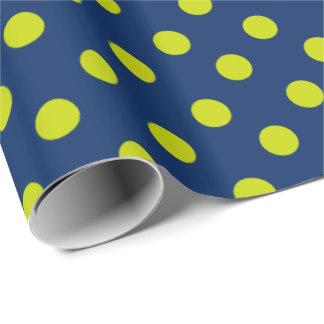 Pois de vert de chaux sur le bleu marine papier cadeau noël