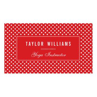 Pois élégant, rouge et blanc carte de visite standard