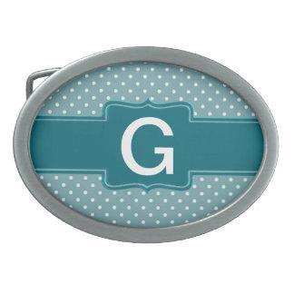 Pois et bannière bleus turquoises personnalisés boucle de ceinture ovale