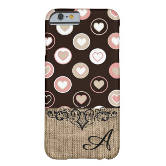 Pois et motif Girly de toile de jute avec le Coque Barely There iPhone 6