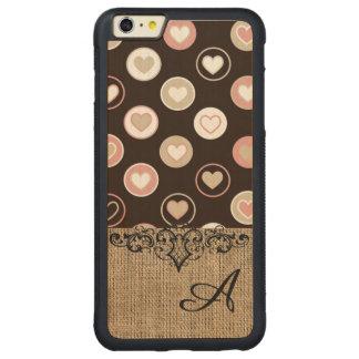 Pois et motif Girly de toile de jute avec le Coque Carved® Pare-chocs En Érable Pour iPhone 6 P