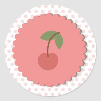 Pois et petit gâteau Topper/autocollant de cerise Sticker Rond