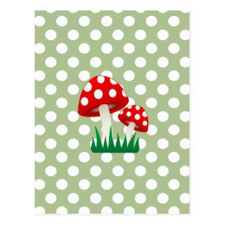 pois girly de champignons d'amusement mignon cartes postales