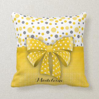 Pois gris et jaune, ruban jaune ensoleillé coussin