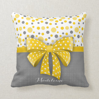 Pois gris et jaune, ruban jaune ensoleillé oreillers