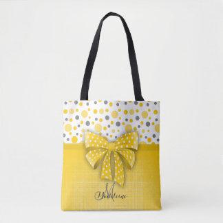 Pois gris et jaune, ruban jaune ensoleillé sac