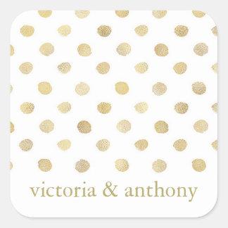 Pois moderne de blanc et d'or épousant la faveur sticker carré